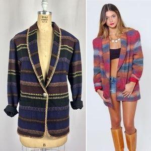 80s Aztec Longline Blazer Tapestry Festival Jacket
